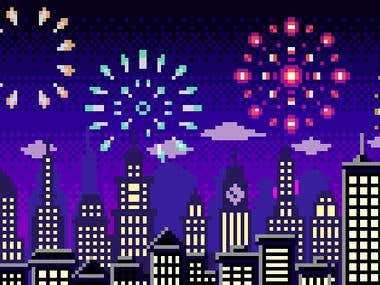 Cityscape with Fireworks in PixelArt