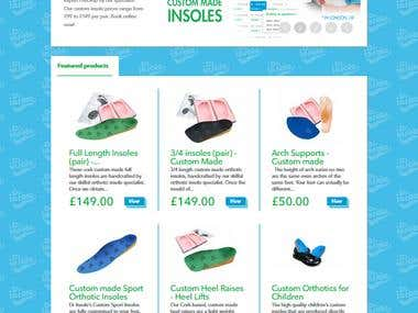 Insole online store based on the Prestashop