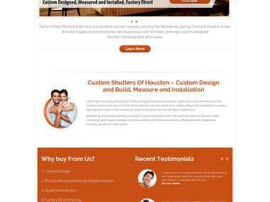 Website for custom shutters of Houston