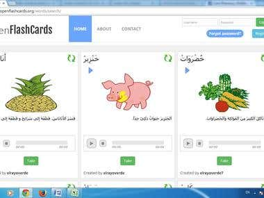 learning materials flash cards translation