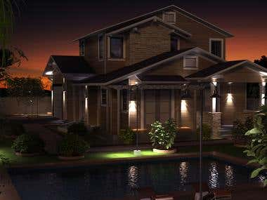 Night Model Exterior Render