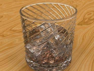 3D of Whiskey on the Rocks