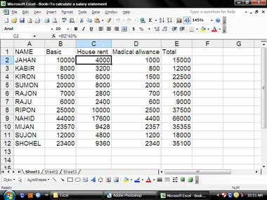 demo project of excel