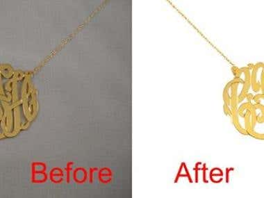 Jewelry background removal and retouching