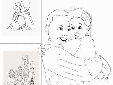 afro american illustrations(father and little daughter)