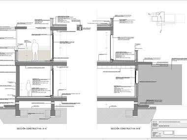 Sección Constructiva de Vivienda