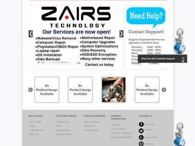 Zairs Technology Software Services Website