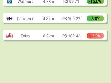 Android app for comparing prices for grocery items