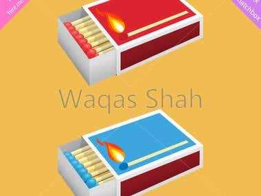 Vector Illustration of a matchbox