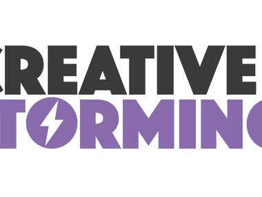 creative storming advertising agency logo design