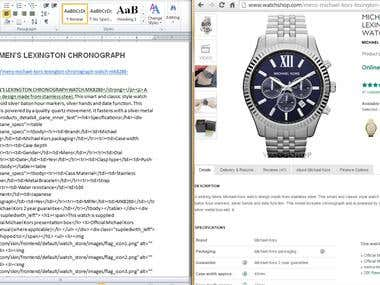 Watches - Data Entry