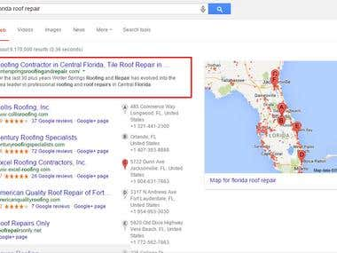 Top ranking position for Roof repair company Florida