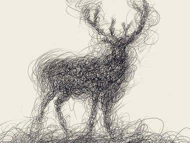 Deer Abstract illustration