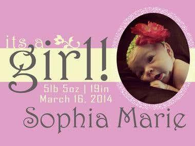 Birth Announcement, Sophia Marie