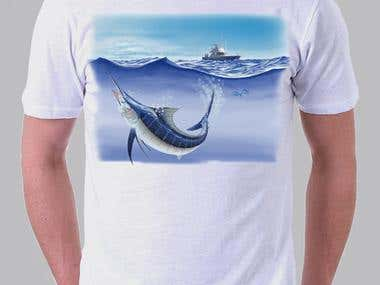 realistic illustration of a blue marlin, fishing theme