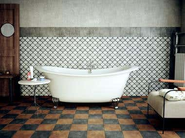 Vintage Bathroom - 3D Design