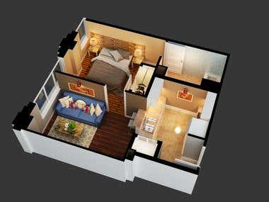 3d floor plan, my work recently