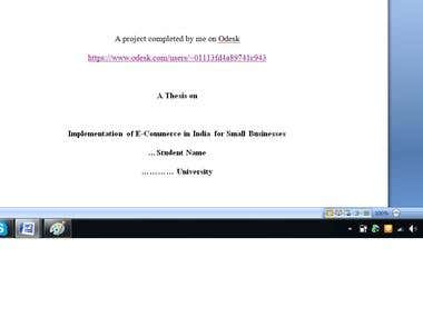 Graduate level Thesis on Implementation of E-Commerce in