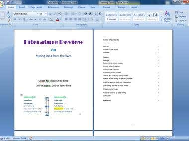 Literature Review on Data Mining