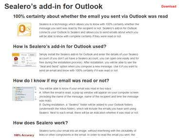 Outlook add-in for Sealero.com