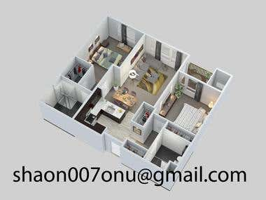 Architectural 2d floor plan rendering