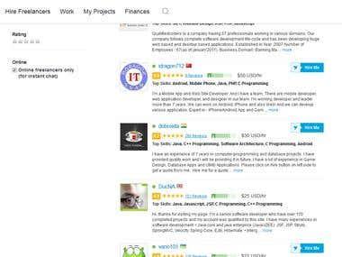 Top 10 java/j2ee developer on freelancer.com site