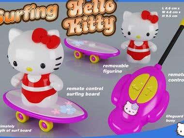 Surfing Hello Kitty