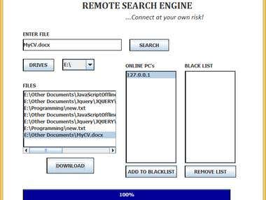 Remote Search Engine (Java Socket Programming & Filing)