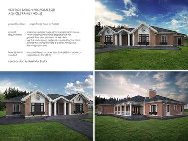 EXTERIOR DESIGN PROPOSAL FOR A SINGLE FAMILY HOUSE