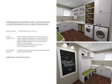 INTERIOR DESIGN PROPOSAL FOR A LAUNDRY ROOM A MASTER BATHROO