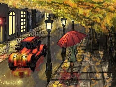 Autumn Street - Digital Paintings
