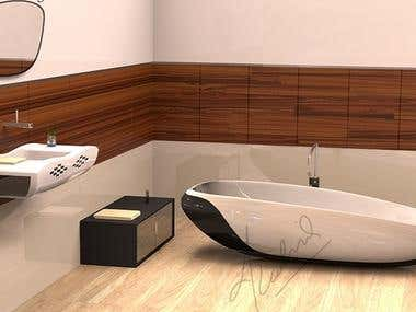 Bath Fixture Design : Bath Tub and Wash Basin
