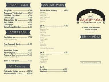 Restaurant Drink Menu Design - Melbourne Based Restaurant