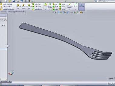 Fork rendering using solidworks