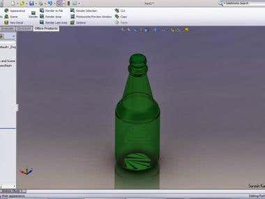 Bottle rendering using solidworks
