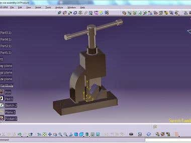 PIPE VISE ASSEMBLY  using CATIA V5: