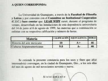 Certificado de la Universidad de Guanajuato