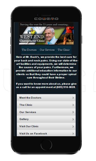 Chiropractor Mobile website