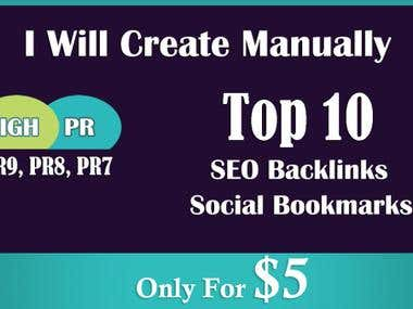 I Will Create Top 10 Manually SEO Backlinks Social Bookmarks