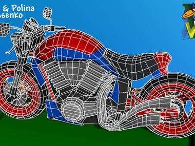 SciFi bike High/Low Poly Textured & wireframe 13114 Tris