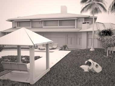 3D Model - House with backyard