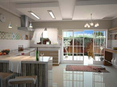 3D design - Modern and rustic kitchen