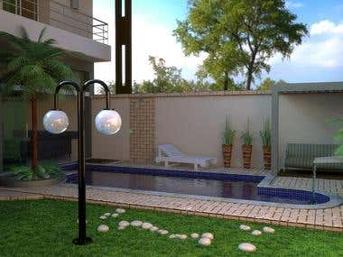 3D design - Pool in garden