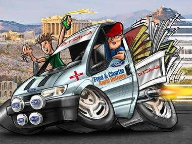 Ford Transit Caricature