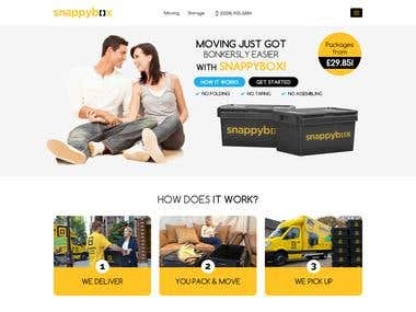 Snappybox Website Design and bootstrap html/css, Wordpress