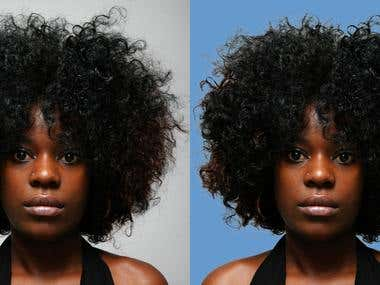 Selecting hair & changing background