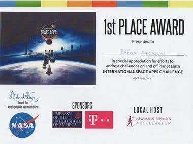 First place on NASA app challenge