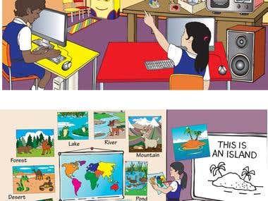 Illustrated language college teaching aid
