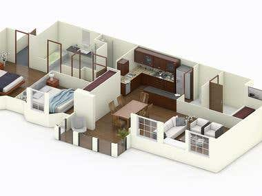 3D Floor Plan (Home Design)