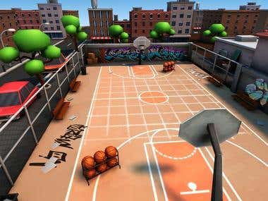 Basketball field environment